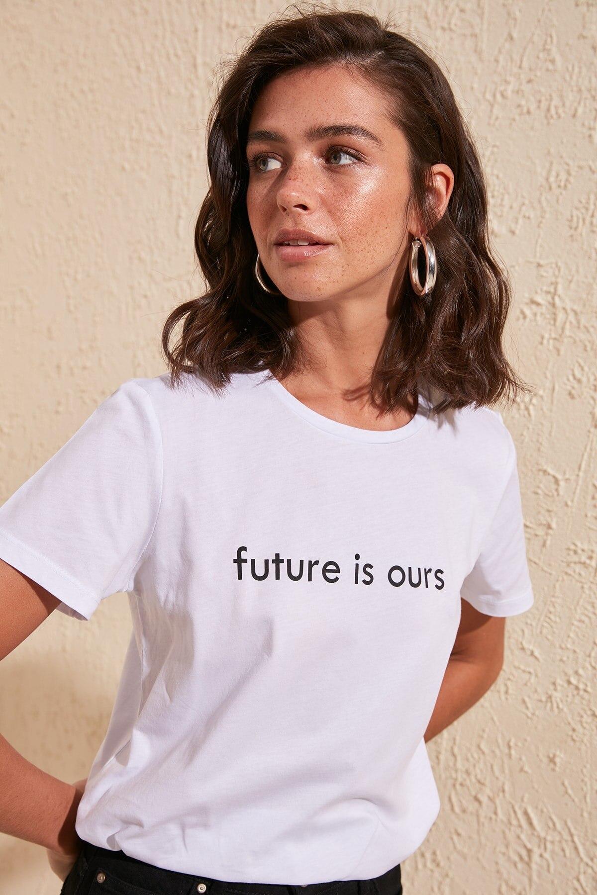 Trendyol Printed Basic Knitted T-Shirt TWOSS20TS1216