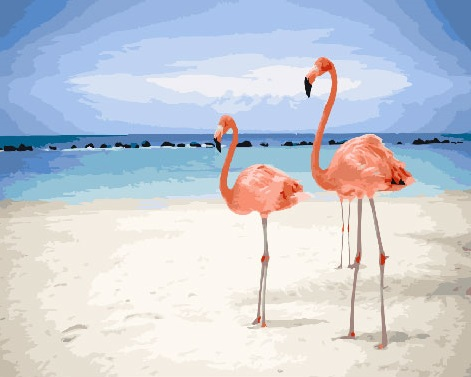 Painting By Numbers PK 18102 (GX 26726) Flamingo On The Beach 40*50