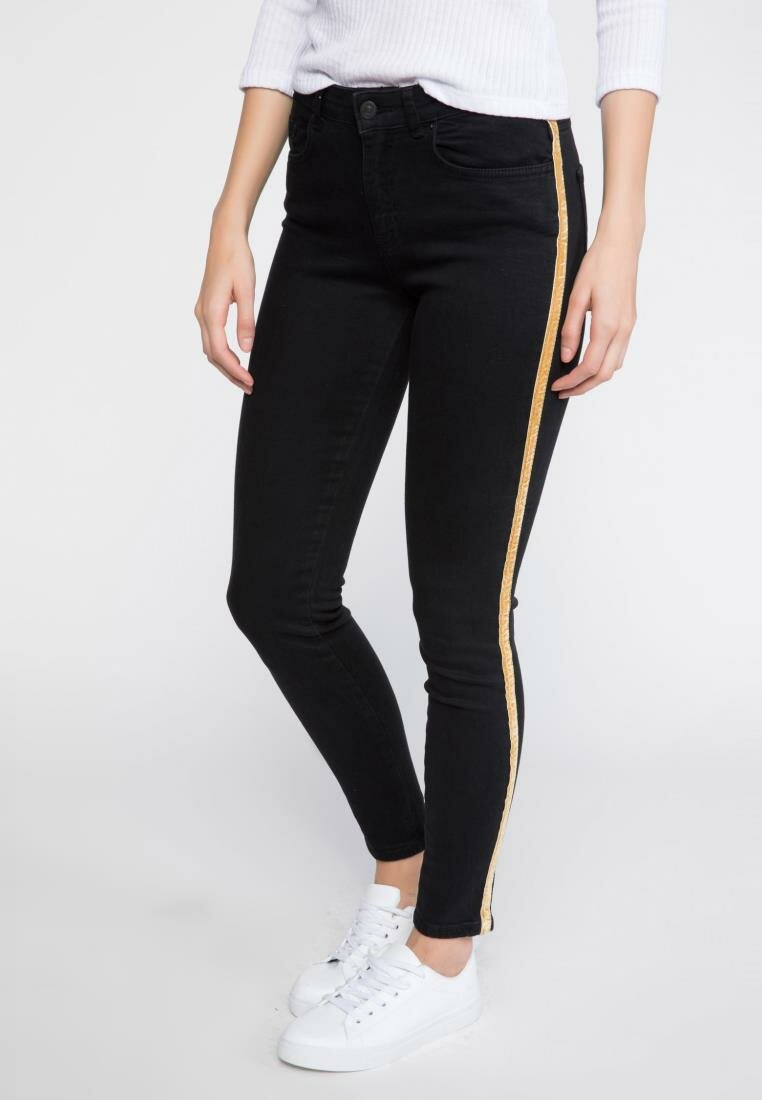 DeFacto Woman All-match Black Denim Jeans Women Fashion Yellow Stripe Jeans Female Casual Skinny Pants Trousers-J7517AZ18AU