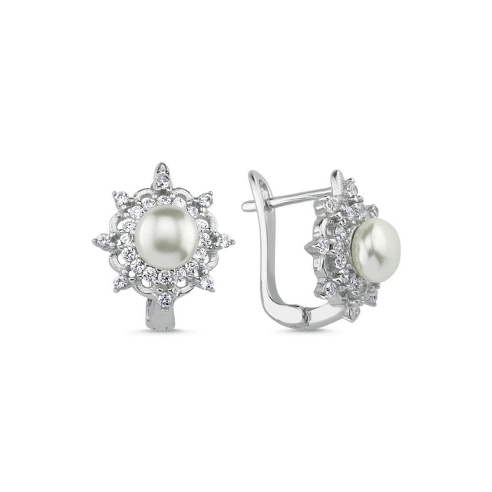 925 boucles d'oreilles en argent Sterling Zircon pierre à la mode romantique perle erring argent turc