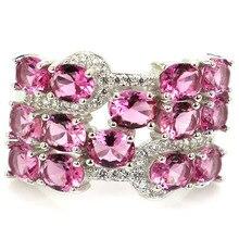 23x15 мм Jazaz великолепные 5,9g создана розовый турмалин Белый CZ для Для женщин реальные 925 твердых стерлингового серебра Серебряные кольца ювели...