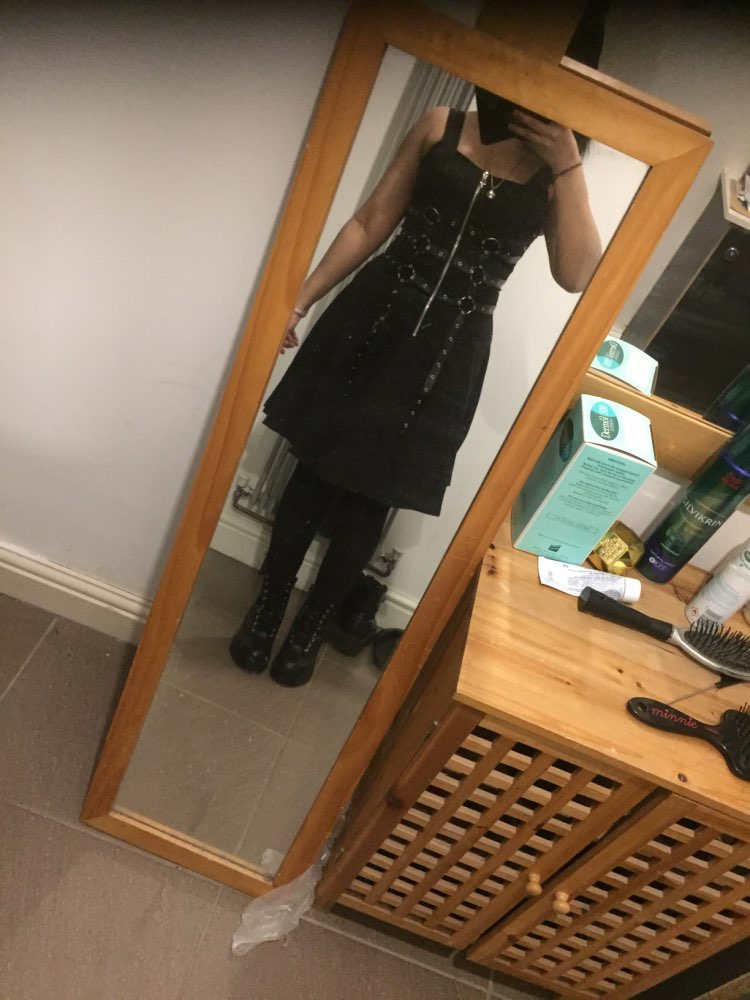 Dress with belts eyelet and zipper photo review
