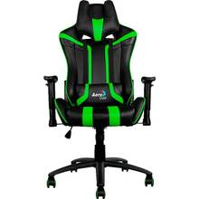 Silla Gamer Aerocool Ac120bb Color Negro/verde Asiento Reclinable 180º Brazos Regulables()