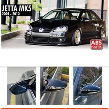 Caps Gloss Black for Volkswagen Jetta Mk5 2005-2009 Mirror-Covers Rearview-Case Bat-Style
