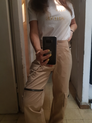 Elatic High Waist Harem Pants Women Cloth Chain Buckle Pantalon Khaki Pocket Long Casual Korean Pants Pencil Autumn photo review