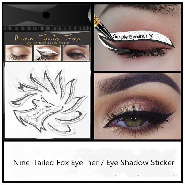 10pcs Eye Makeup Stencils Winged Eyeliner Stencil Template Shaping Tools Eyebrows Eye Shadow Makeup Template Tool stickers Card 2