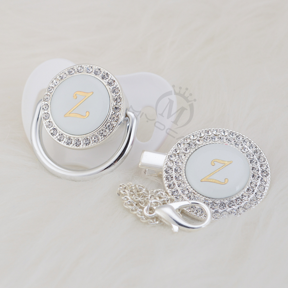 MIYOCAR Gold Bling Name Initial Letter Z Elegant Silver Bling Pacifier And Pacifier Clip BPA Free Dummy Bling SGS Pass LZ-1