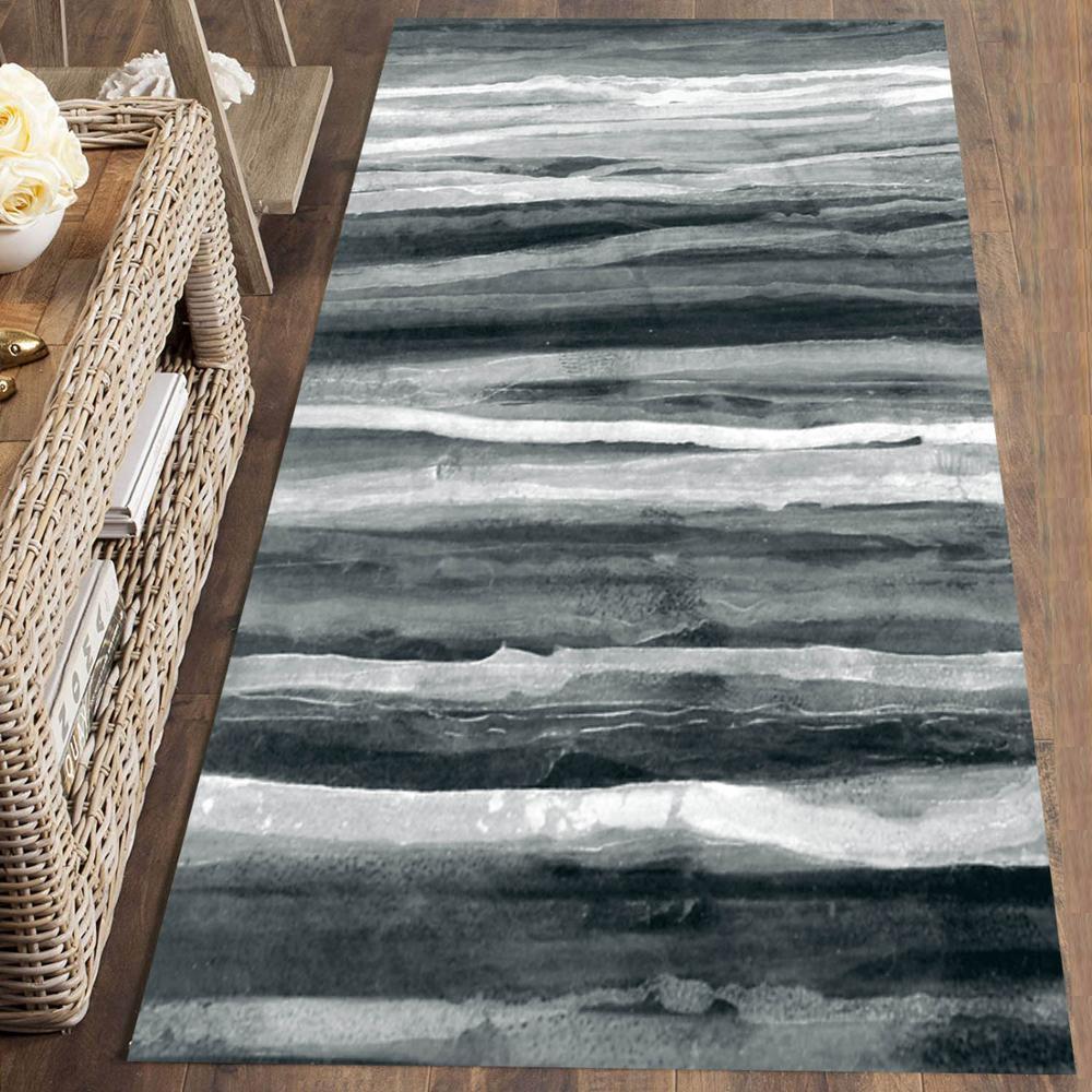 Else Gray White Black Waves Lines Nordec 3d Print Non Slip Microfiber Washable Long Runner Mat Floor Mat Rugs Hallway Carpets