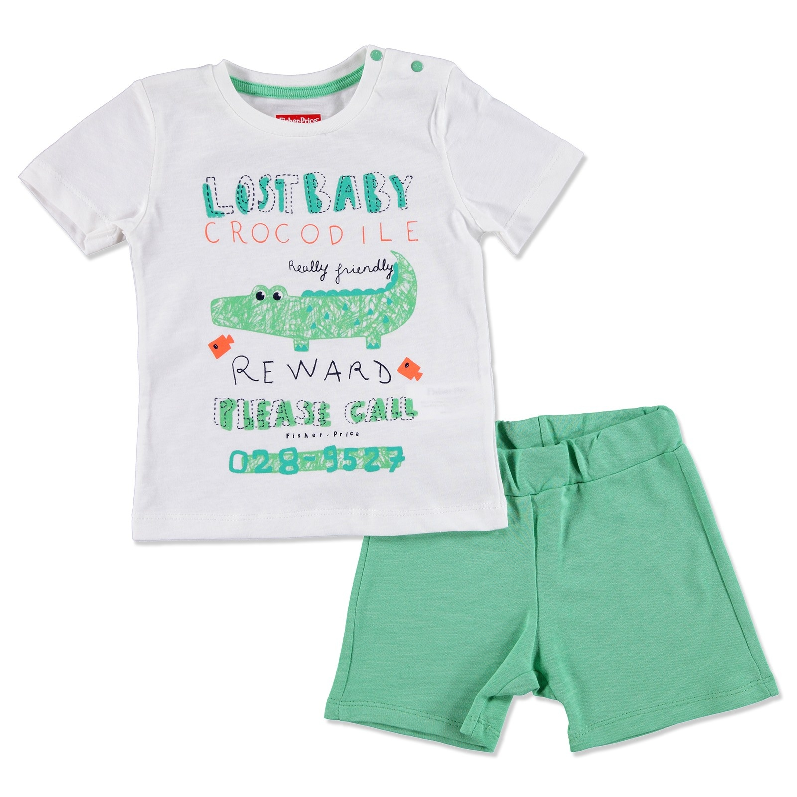 Ebebek Fisher Price Summer Baby Boy Crocodile T-shirt Short Set