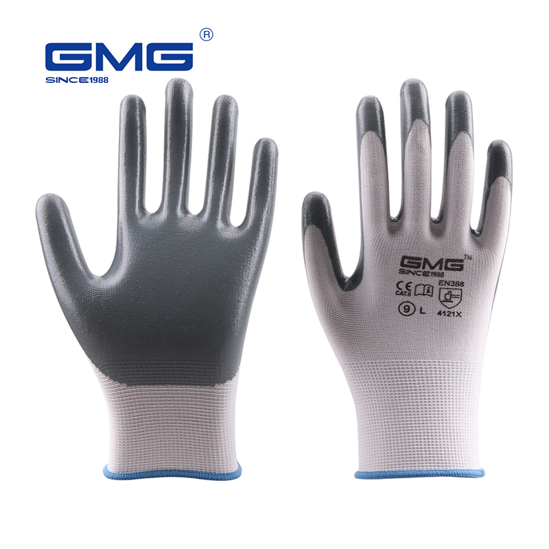 Hot Sale GMG CE Certificated EN388 White Polyester Grey Smooth Nitrile Work Safety Gloves Work Gloves Mechanics