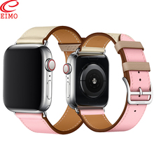 EIMO Strap for apple watch Band Genuine Leather 4 3 38 mm iwatch band 42mm 44mm 40mm Single tour bracelet Watchband