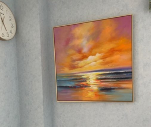 Hand Painted Abstract Setting Sun