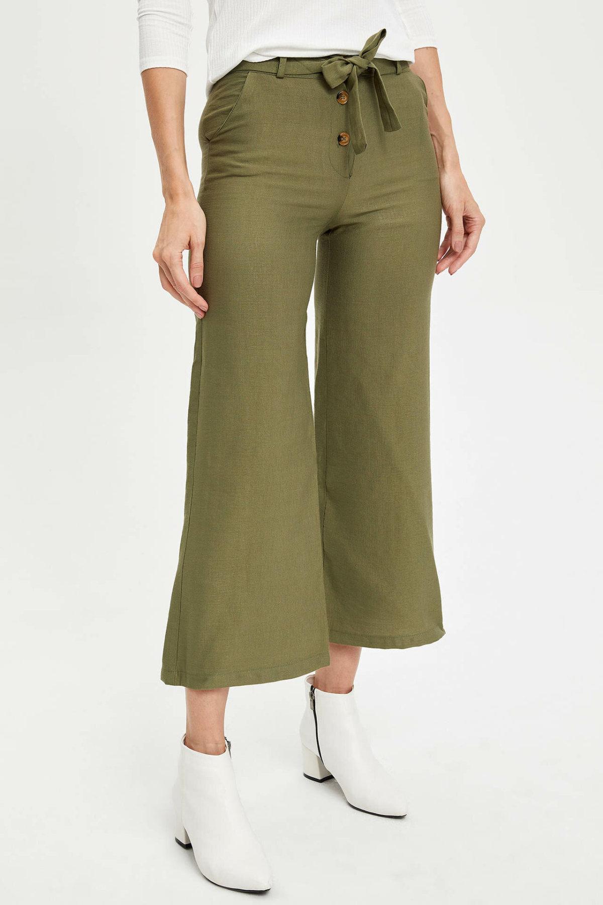 DeFacto Female Fashion Formal Belt Loose Trousers For Ladies Casual Pants Straight Comfort Long Pants Women's - M3939AZ19AU