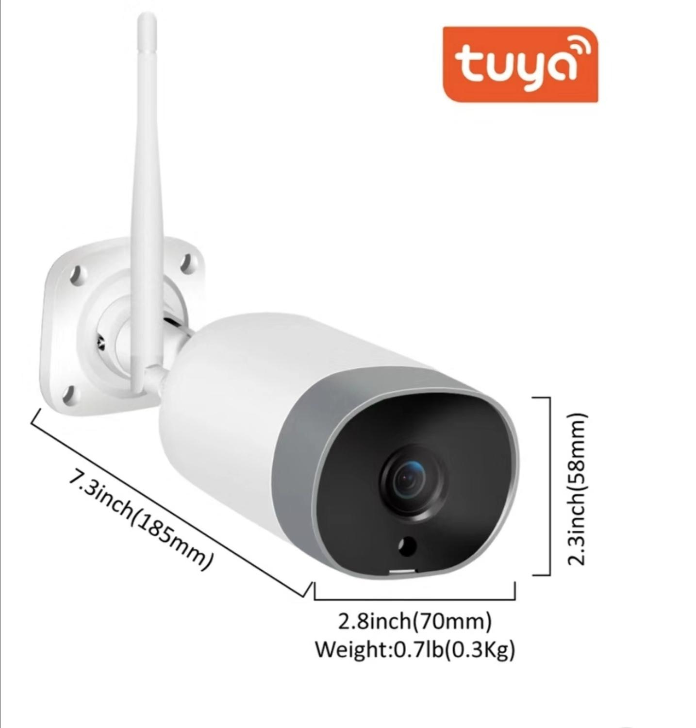 Tuya Smart Life Wireless Bullet Wifi Outdoor Camera Waterproof IP66 Works With Google Chromecast Smart Display Amazon Echo Show