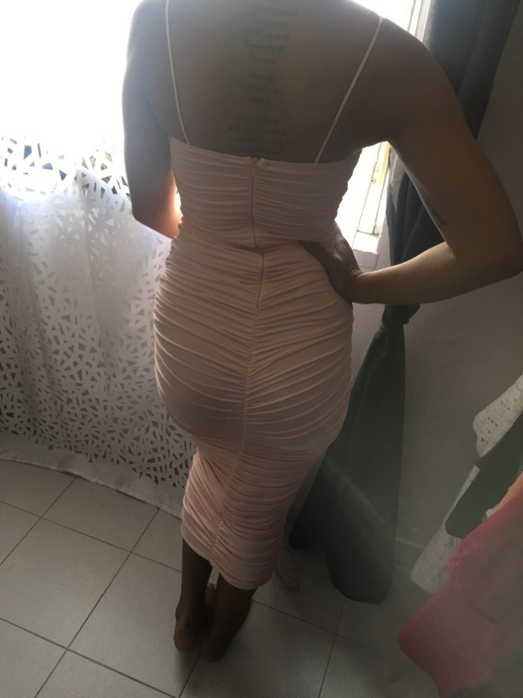 Double Layers Sexy Summer Dress Pink Women Night Dresses Tight Long Party Bodycon Dress Vintage Ruched Midi Dress photo review