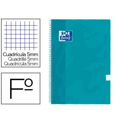 SPIRAL NOTEBOOK OXFORD TOP EXTRADURA FOLIO 80 H GRID 4 MM AQUA INTENSE TOUCH 5 PCs
