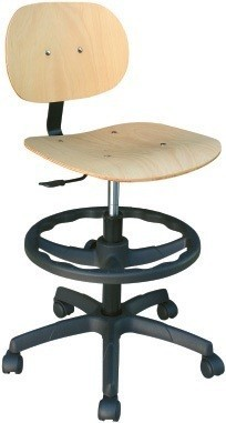 Stool WORK 12, Gas, Wood Seat And Backrest