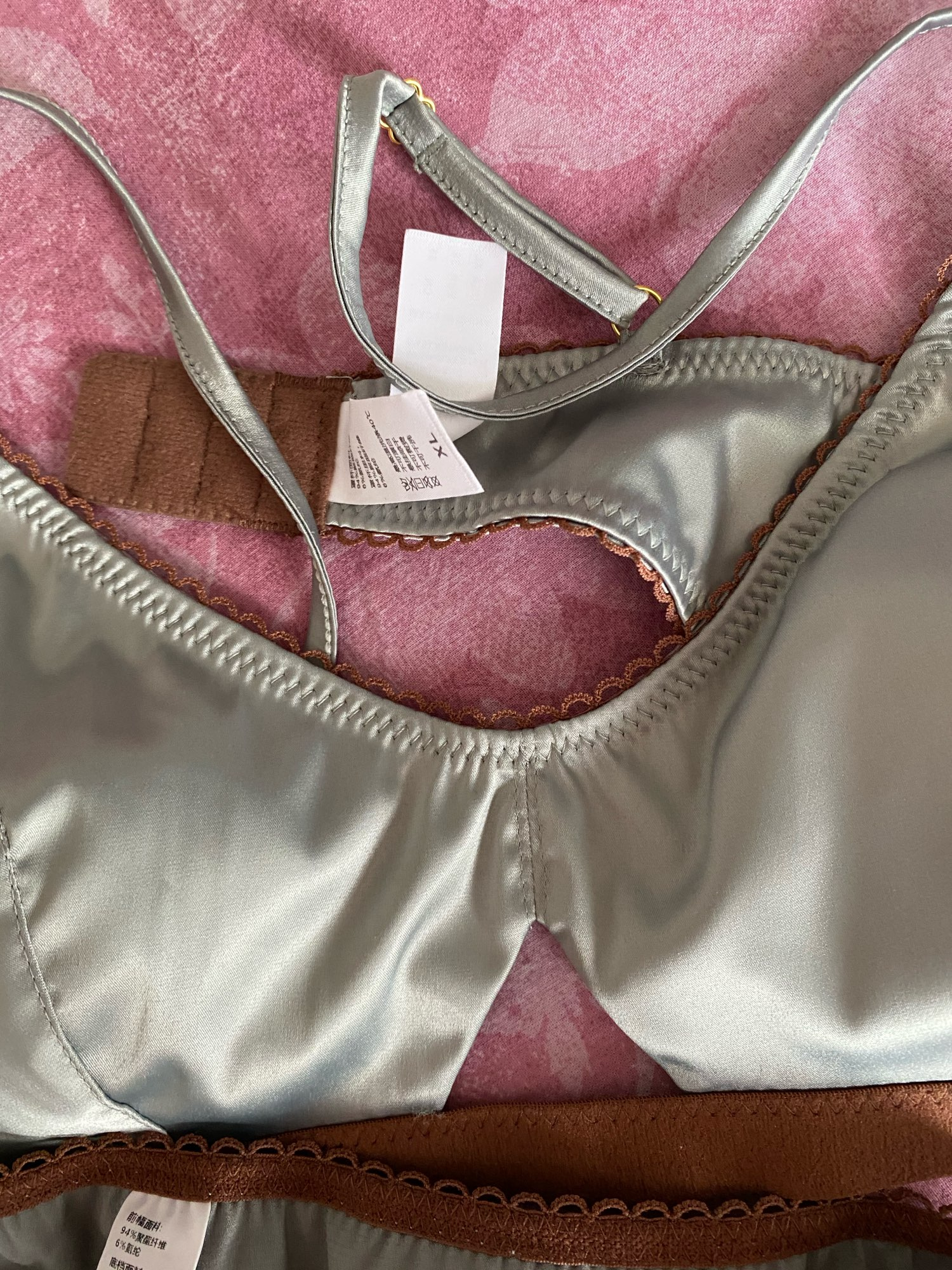 TERMEZY New Women Underwear Wire Free satin bra thin 3/4 cups Bra and Panty Set Hollow Lingerie Women Brassiere Bralette|Bra & Brief Sets|   - AliExpress