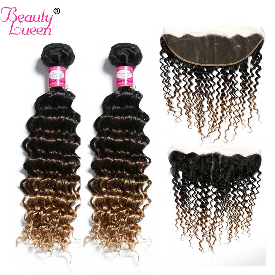 Blonde Ombre Deep Wave Bundles With Lace Frontal Closure Human Hair 3 Bundles With Closure Non Remy Brazilian Hair Weave Bundles-in 3/4 Bundles with Closure from Hair Extensions & Wigs    1