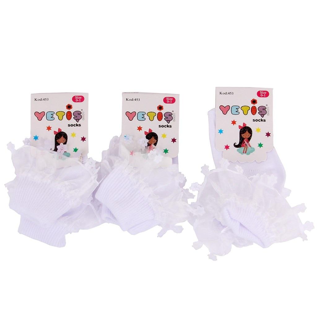 Baby Girl 0-1 Years Old 3'lü White Gauze Socks