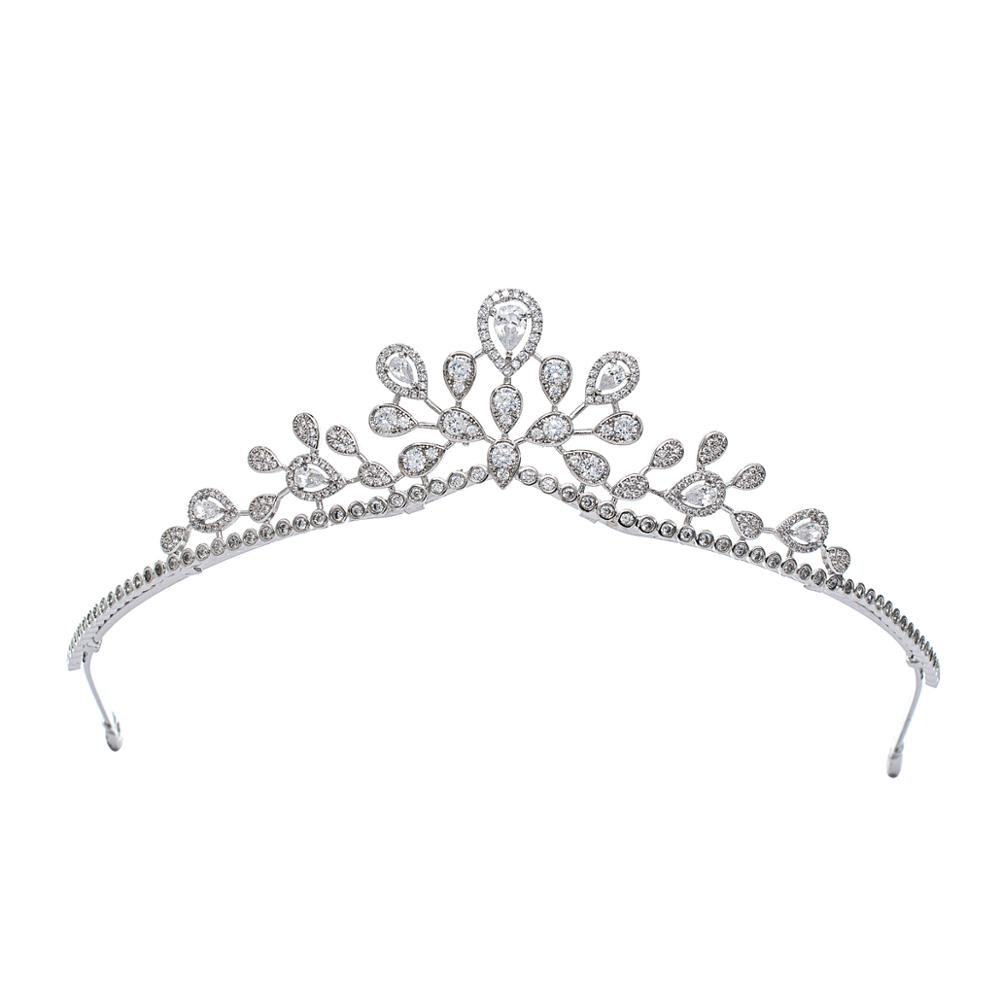 2020 Design Cubic Zirconia Princess Tiara Diadem For Bridal Wedding Hair Jewelry Accessories Hairpieces CH10343