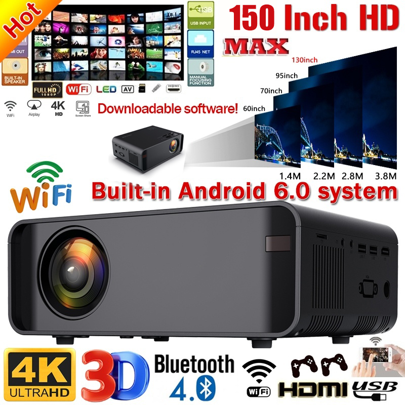 Projecteur LED 4k 2300lumen Mini projecteur bluetooth 4.2 HDMI USB Android 6.0 Wifi 8G Portable cinéma maison lecteur multimédia Beamer