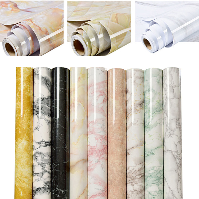 Kitchen Marble Contact Paper PVC Wall Stickers Marble Countertop Stickers Bathroom Self Adhesive Waterproof Wallpaper 100*60cm