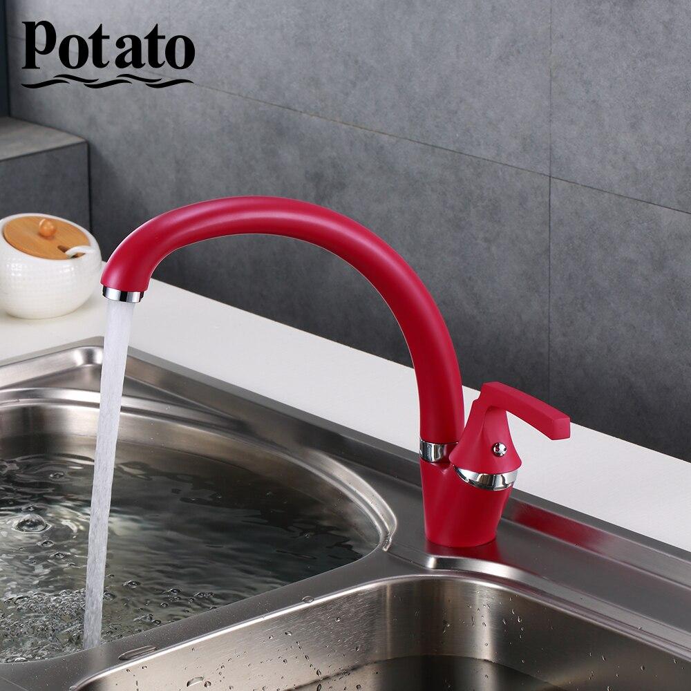 Potato Ретро красный спрей живопись поворотный Носик Одной ручкой горячей и холодной воды смеситель для кухни раковина кран p59229 16 Смесители для кухни      АлиЭкспресс