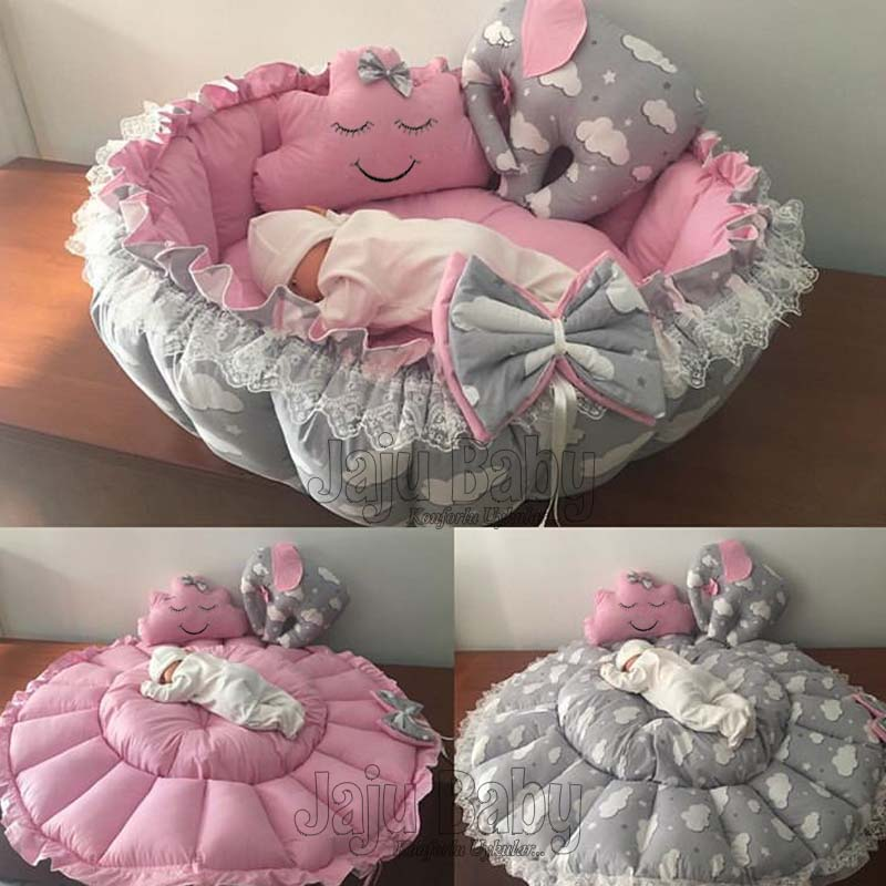 Jaju Baby Gray Elephant Pink Play Mat Baby nest Play Mat Baby Nest, bedside, baby chaise lounge, portable baby bed, portable bed