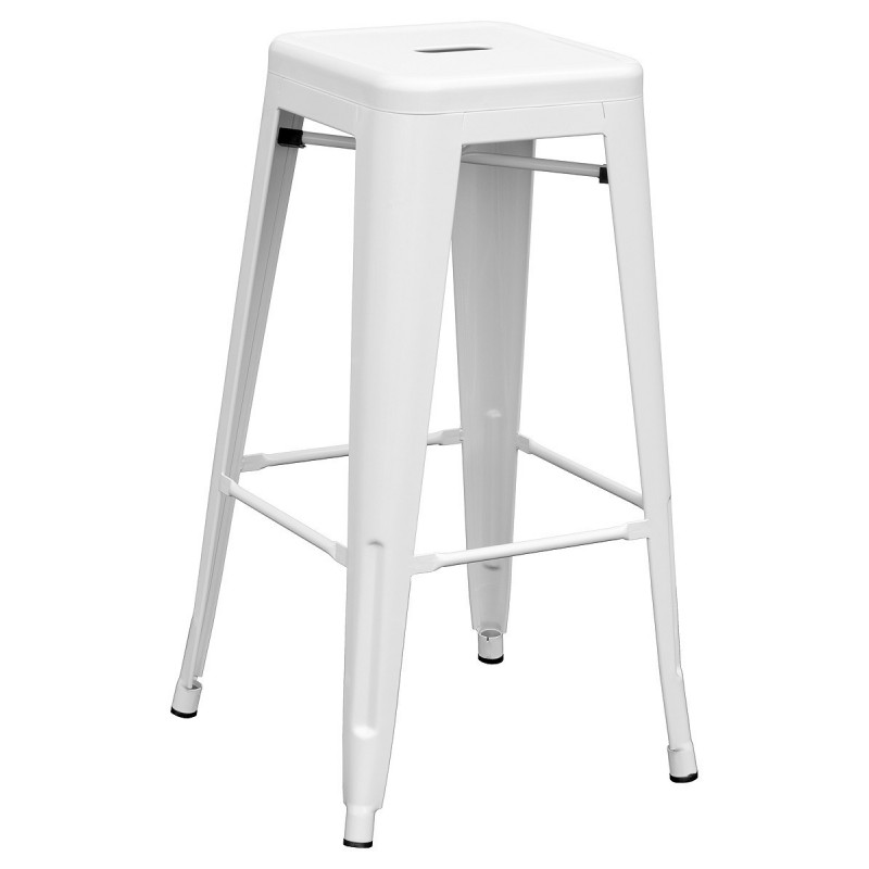 Barroom Stool Fixed, Manufactured Entirely In White Steel Color. Include Footrest In The Structure. PIQUERAS And CRESP
