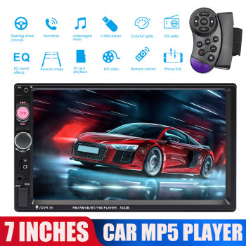 7'' 2 Din Car Full HD Bluetooth Multimedia For Android iPhone MP5 FM Radio Player Steering Wheel Remote Support TF Universal image
