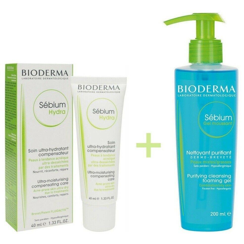 Bioderma Sebium Hydra 40ml + Sébium Gel Moussant 200ml Acne Prone Skin Treatment
