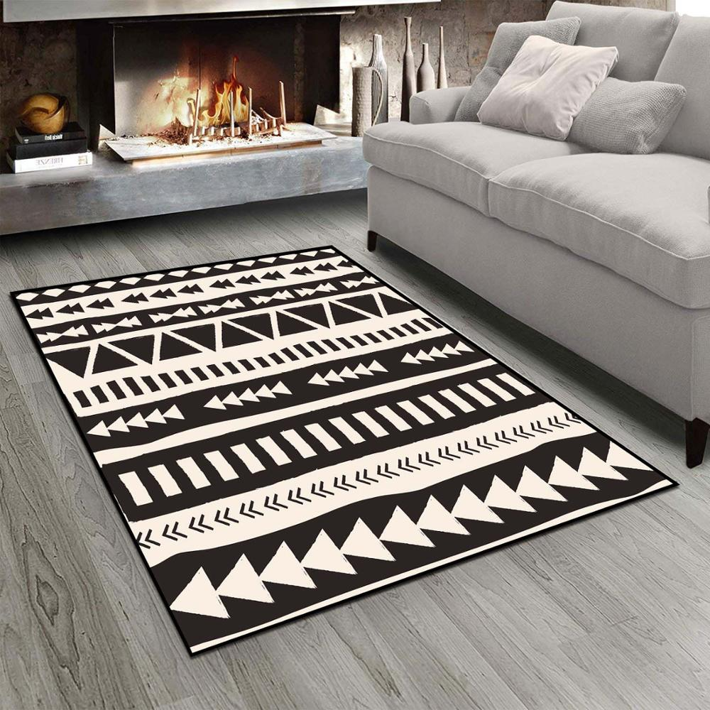 Else Black White Ethnic Authentic Morrocan 3d Print Non Slip Microfiber Living Room Modern Carpet Washable Area Rug Mat
