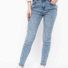DeFacto Fashion Women Mid Waist Dot Blue Jean Trousers Casua