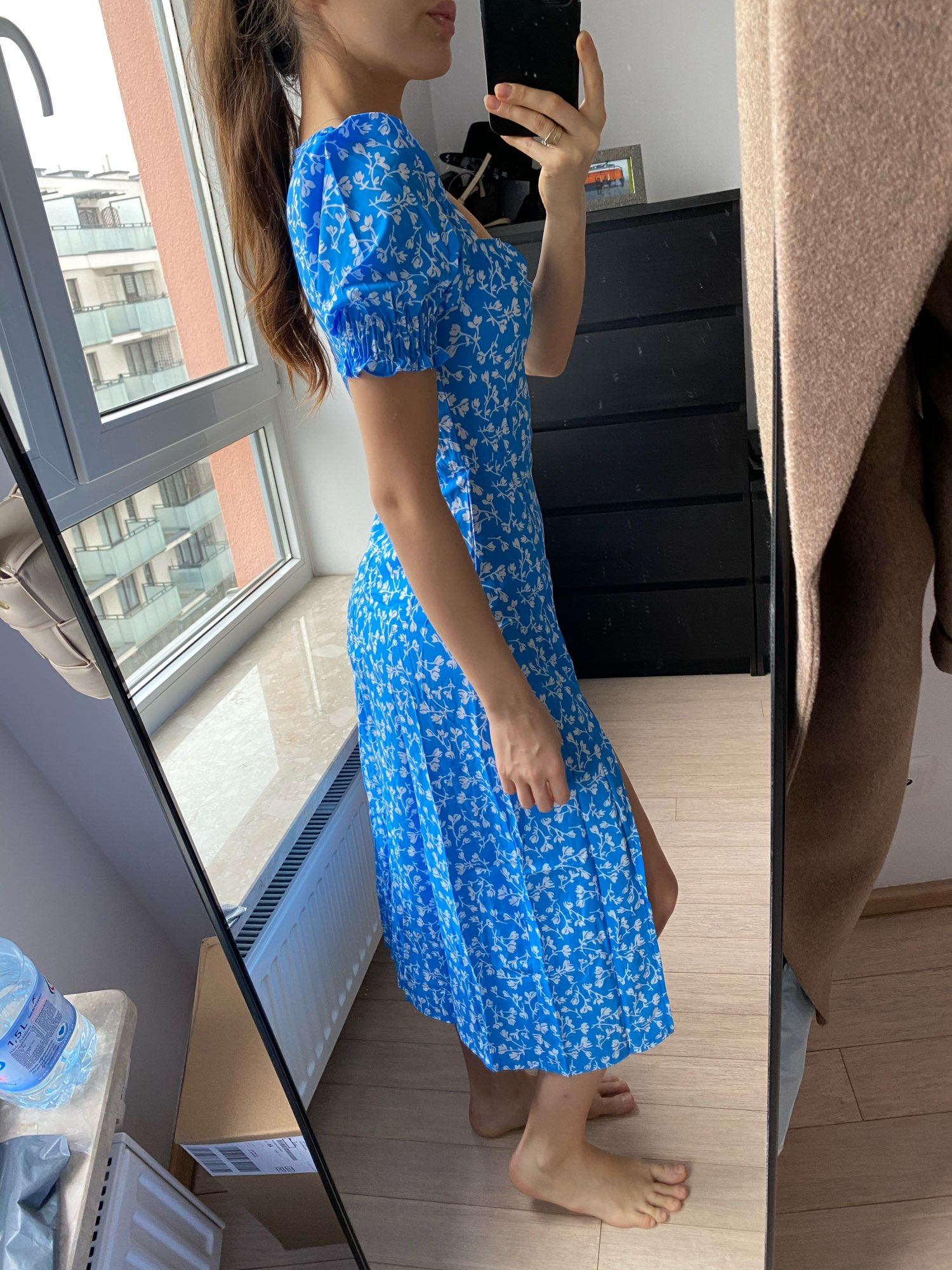 Macheda French Romance Retro Dresses Women Casual Floral Print Square Collar Dresses Ruffles Puff Sleeve Midi Dresses Lady 2019|Dresses|   - AliExpress