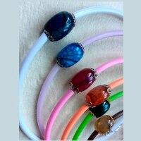 Fashion jewelry women necklace choker with natural quartz multicolor natural semi precious stone AV Jewelry