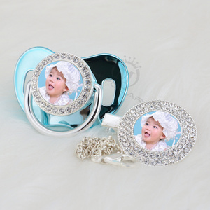 Image 5 - MIYOCAR custom pacifiers dummy any name photo silver bling pacifier and pacifier clip BPA free dummy bling amazing design P 1 P