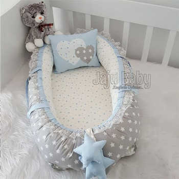 Jaju bebê ninho estrela azul luxo ortopédico bebê cama babynest design personalizado