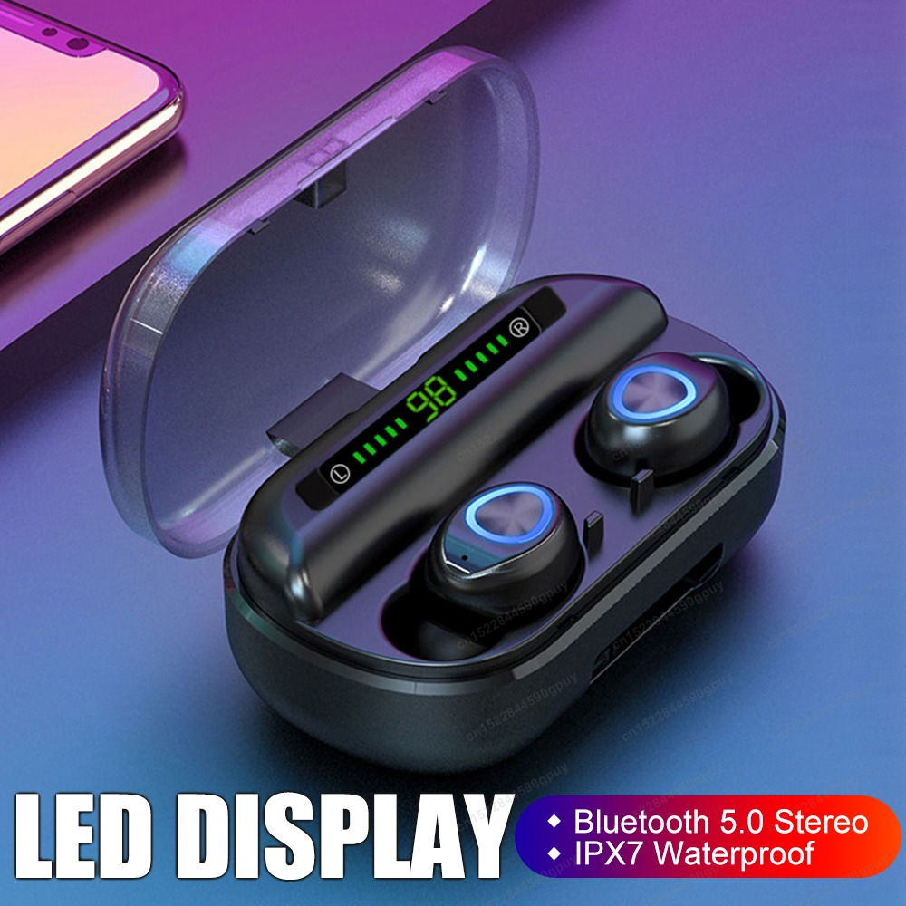 TWS Bluetooth Earphone With Microphone LED Display Wireless Bluetooth Headphones Earphones Waterproof Noise Cancelling Headsets