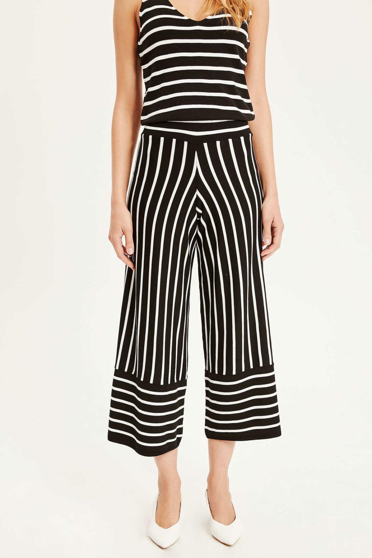 DeFacto Woman Fashion Pants Female Elegant Striped Wide-leg Pants Ladies Casual Simple Bottoms New  - L2110AZ19SP
