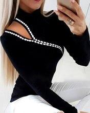 Женская трикотажная блузка с высоким воротником повседневная