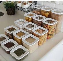 12 pçs cozinha caixa de armazenamento de alimentos recipiente conjunto organizador quadrado tampa vácuo frascos herméticos despensa macarrão legume cereais arroz massas