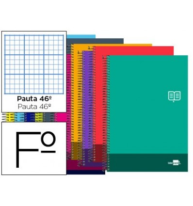 SPIRAL NOTEBOOK LEADERPAPER FOLIO DISCOVER SOFTCOVER 80H 80GSM STRIPED NO. 46 ASSORTED COLORS
