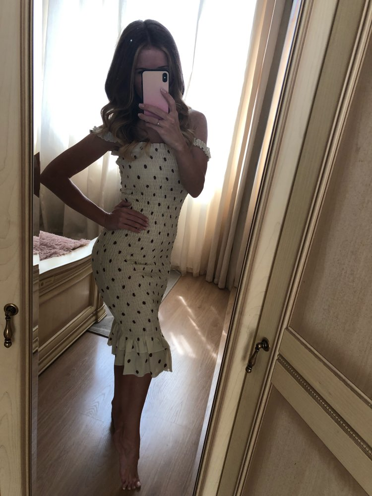 Beige Dot Print Fashion Sleeveless Summer Dress Ruffles Strapless Sundress Sexy Long Dresses Streetwear Holiday photo review