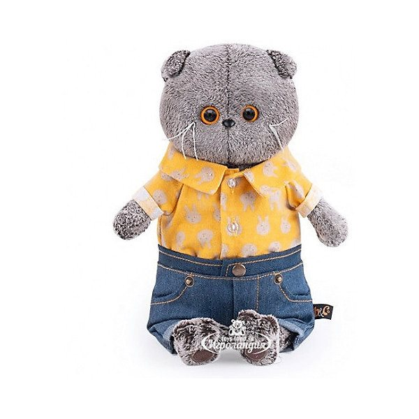 Peluche Budi Basa chat Basik en short en jean et chemise jaune, 19 cm