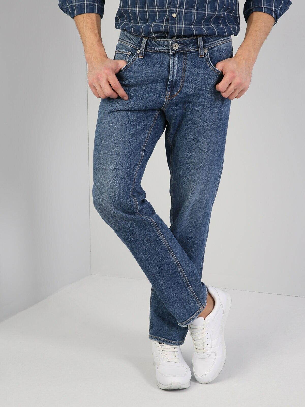 Colins Men 45 Davıd Regular Fit Blue High Rise Boocut Jean Pantsmen's trousers men's