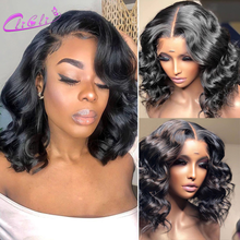 Closure Wig Short Bob Human-Hair Body-Wave Lace-Front Pre-Plucked Brazilian 13x4 4x4