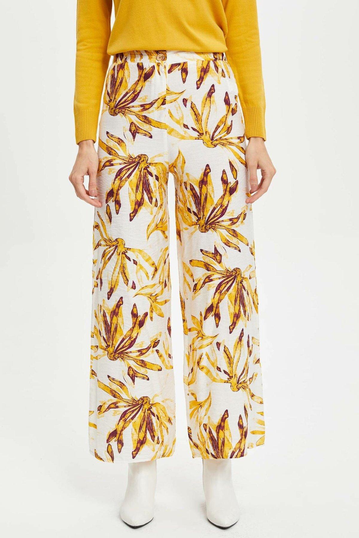 DeFacto Fashion Woman Print Pattern Trousers Female Casual Loose Straight Long Pants Ladies Comfort Simple Bottoms - M3938AZ19AU