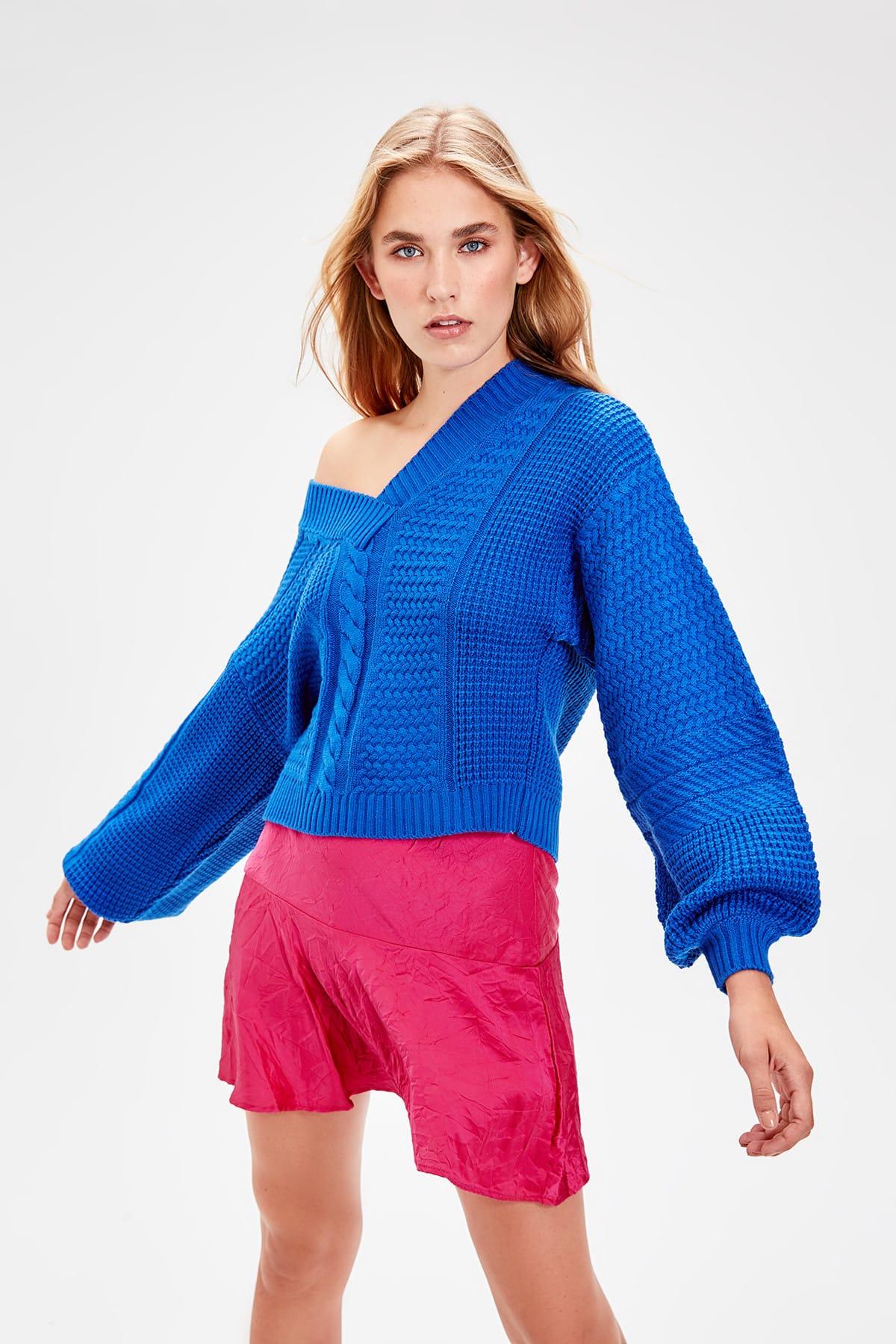 Trendyol WOMEN-Saks Hair Braided Detailed Sweater TWOAW20ZA0024