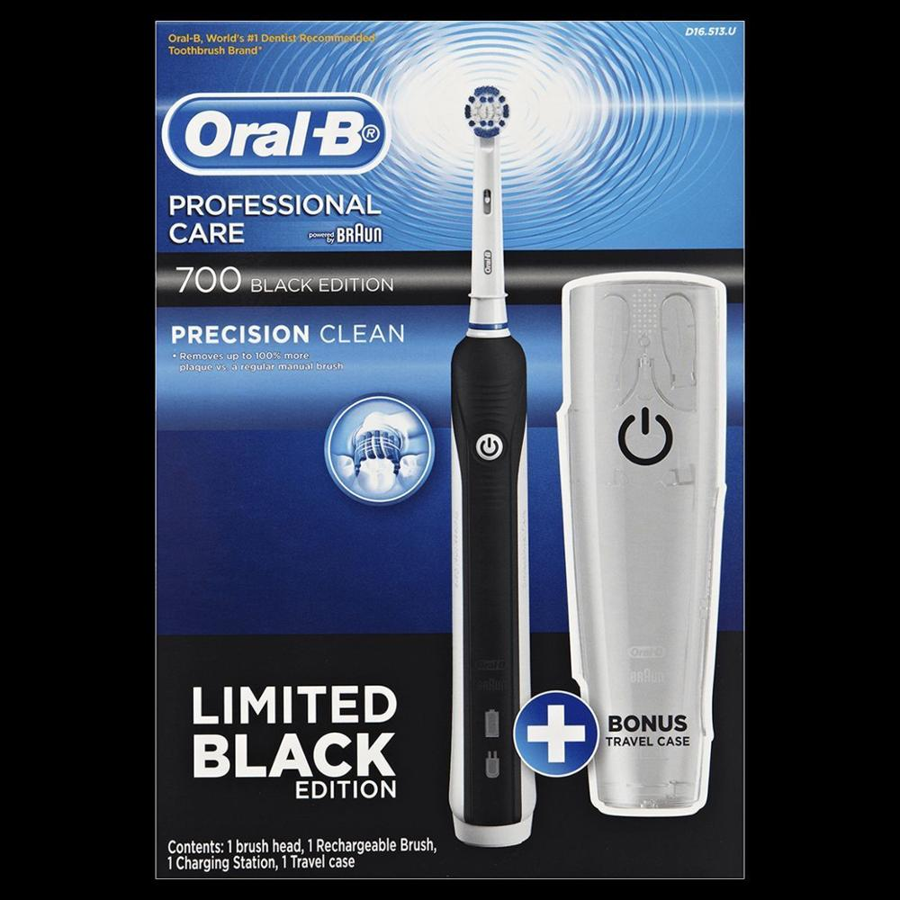 Oral-B 700 Pro Care Black Rechargeable Electric Toothbrush + Travel Case image